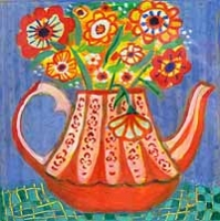 Vintage Teapot with Summer Flowers