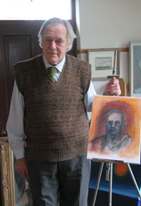 Jim Houston at his studio near Westport, Co. Mayo, Ireland with a self portrait work in progress. January 2006