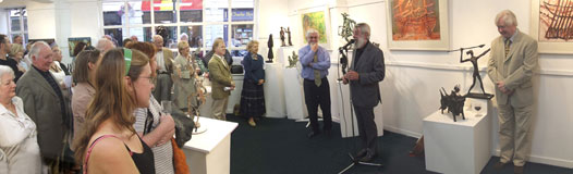 Ronnie Drew officially opens 'Bulls, Boats & Goats' an exhibition of new sculpture by John Behan RHA at The Kenny Gallery on Friday 8th September