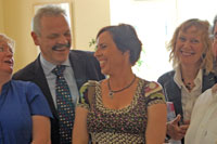 Artists Geraldine Folan, Charlotte Kelly and Pam O'Connell share a joke with Conor Kenny