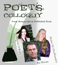 Poet's Colloquy - Pat Boran (Dedalus Press), Elaine Ní Chuilleanáin (Cyphers Magazine) and Caitriona O Reilly (Poetry Ireland Review)