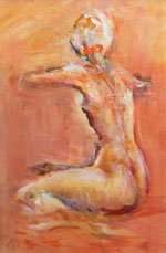 Nude with Red Bow by Jim Kinch