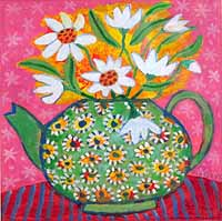 My Granny's Green Teapot with Daisies