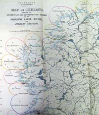 IRELAND, map of, shewing the distri