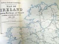 IRELAND, map of, showing Railways