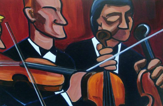 Three Violins by Pam OConnell. The Kenny Gallery.